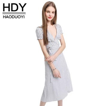 Woman Deep V Neck Casual Loose Tops Asymmetrical Striped Short Sleeve Shirt Waist Tie Bow Dress