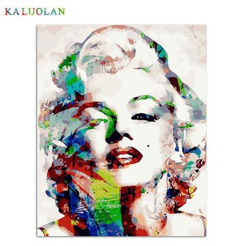 DIY Painting By Numbers On Canvas Color Marilyn Monroe Modern Abstract Oil Painting