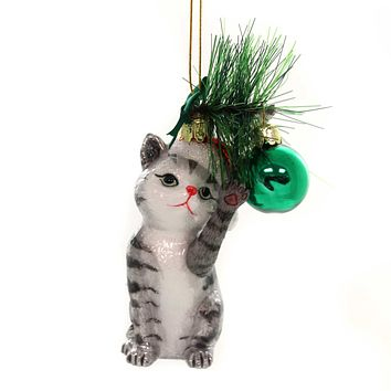 Noble Gems CAT WITH BALL ORNAMENT Glass Kitten Christmas Meow Nb1141 Grey