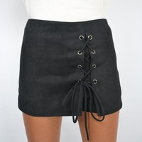 Faux Suede Lace Up Skort