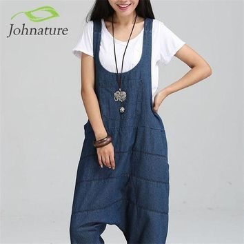 Johnature 2017 New Denim Jumpsuits Pocket Rompers Stripped Loose Plus Size  Women Fashion Casual Denim Overalls Harlan Jumpsuits