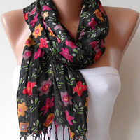 Black and Colorful Flowered Shawl / Scarf Spring by SwedishShop