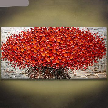 Red Leaves Tree Palette Knife Canvas Print - Wall Art Decor