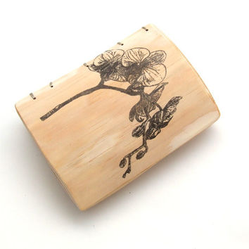 Wedding Rustic Guest Book - Wood guest book - Journal with Orchid - Personalized journal - orchid