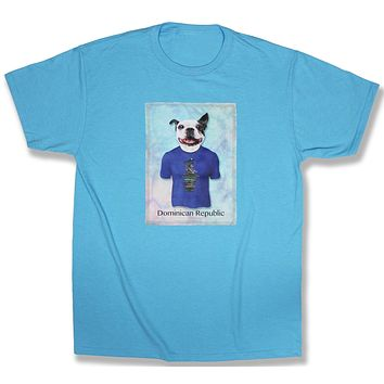 Dylan: French Bulldog in a Directional Sign Post Shirt, Aquatic Blue