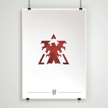 Terran emblem poster starcraft 2 game print game artwork wall decor