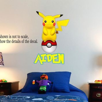 Personalized  Pikachu Wall Decal (Removable and Replaceable) 30inX20inKawaii Pokemon go  AT_89_9