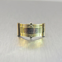Victorian Signet Ring, Vintage Monogrammed Initial Jewelry, Antique Unisex Pinkie Ring, Victorian Mens Jewelry Size 4.50 CJF