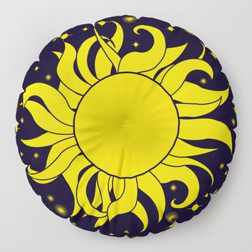 Bold Yellow Sun & Stars On Dark Blue Floor Pillow by inspiredimages