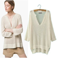 Stylish V-neck Long Sleeve Pullover Women's Fashion Tops Sweater [4918965636]