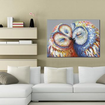 Multi-colored Kissed Owls Couple Canvas Print Picture Hang Wall Art Home Decor