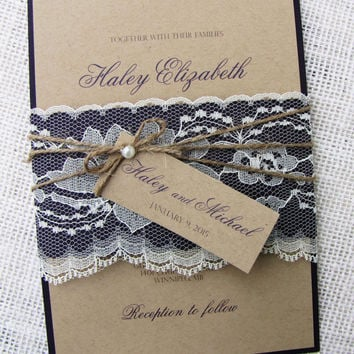 Rustic wedding invitation, Kraft wedding invitation, Lace wedding invitation, Country wedding invitation Suite of 50