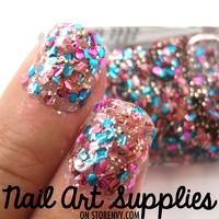 Party Nails - Pink Blue and Gold Glitter Nail Polish
