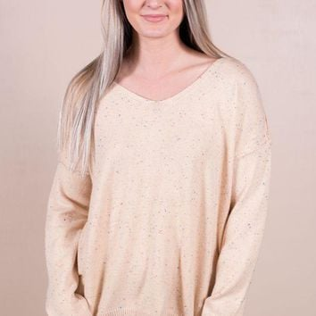 PEAPVA6 Speckled Sweater- Taupe