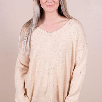 ESBVA6 Speckled Sweater- Taupe