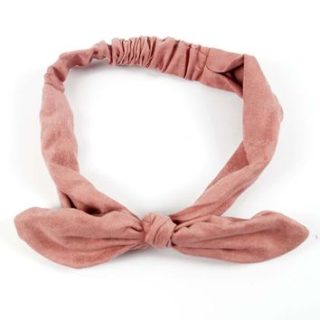 Solid Suede Rabbit Ear Bow Headband For Women Adult Knotted Elastic Hair Band Headwraps Hair Accessories