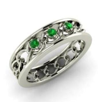 #Emerald #Ring in 18k #White #Gold | 0.1 ct. tw. | Round Cut | Brigan | #Diamondere