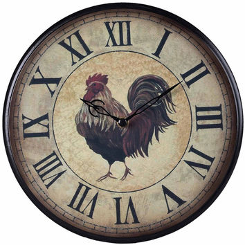 Country Style 9-inch Rooster Chicken Clock