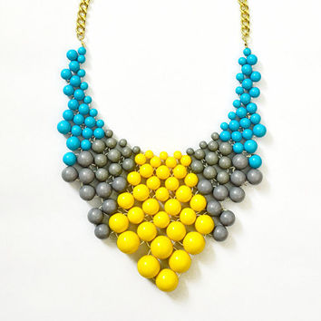 Bauble Necklace - Color Mix Bib - Yellow Necklace - Blue Bib- Statement Necklace - Kate Spade Bauble - Anthropologie Inspired - Ship from US