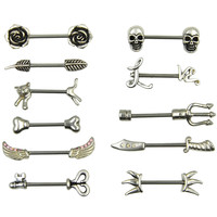 Stainless Steel Nipple Ring Piercing Barbell Body Jewelry-Sparrow/Cat/Skull/Rose/Key/Arrow 14g