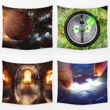 Comwarm Desirable Universe Pattern Wall Hanging Mural Medieval Modern Style Durable Printed Polyester Tapestry Home Decor Art