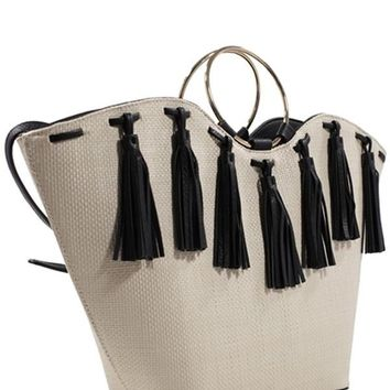 Black and White Tassel Bucket Tote Bag