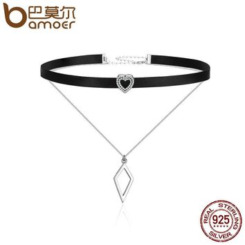 Trendy 925 Sterling Silver Double Layer & Black Braid Heart Prism Square Chokers Pendant Necklaces Collar Jewelry SCN082