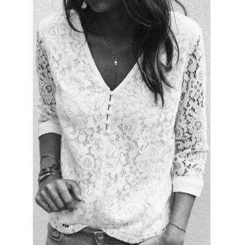 One-nice™ Fashion Hollow Lace Long Sleeve Blouse Top