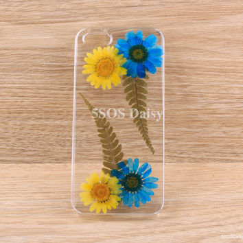Pressed Flower Daisy iPhone 5 case, iPhone 4 case, iPhone 4s case, iPhone 5s case, iPhone 5c case, Galaxy S4 S5 Note 3 - 01027
