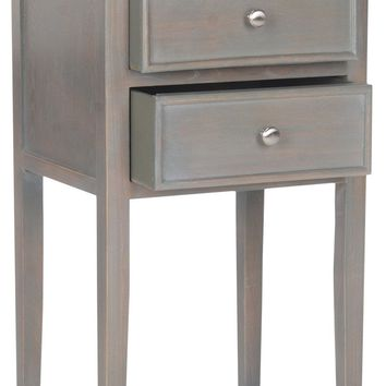 Toby End Table With Storage Drawers French Grey