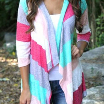 Casual Striped Rainbow Color Asymmetric Cardigan