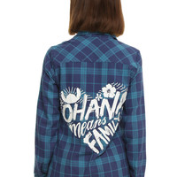 Disney Lilo & Stitch Ohana Plaid Girls Woven Top