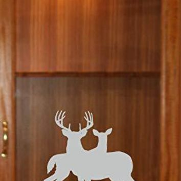 Buck Doe Hunting Gun Cabinet Etched Glass Decal Vinyl Sticker