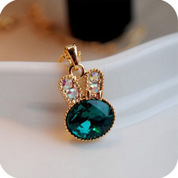 ea Green Rabbit control over imitation diamond crystal cute bunny necklace chain clavicle  4ND04