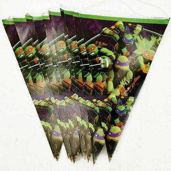 10pc Teenage Mutant Ninja Turtles Birthday Banner Pennant Flag Tableware Party Supplies Children's Day/Gender Reveal Decorations