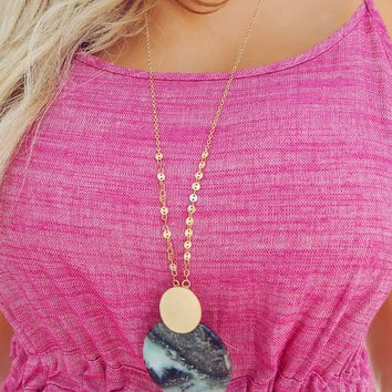 Stone Cold Necklace: Gold/Marble