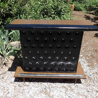 Bar Tufted Black Buttoned Diamond Tuck Mid Century Modern Cocktail Service Petite Size Shelves Padded Arm Rest Chrome Foot Rest Man Cave