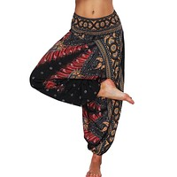 Women Loose Thai Harem Pants Indie Folk Boho Festival Hippy Casual Trousers Loose Elastic Waist Soft National Style Boho Pants