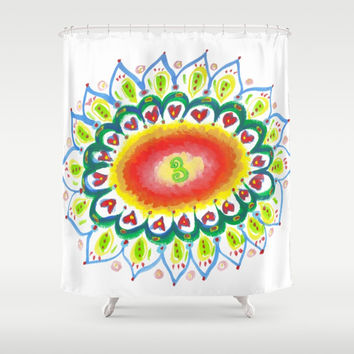 Sunflower Mandala Shower Curtain by Shashira Handmaker