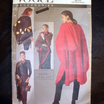 Vogue Designer Cape, Shawls and Pouch Purse, One Size Fits All, Vintage Vogue 8555 Sewing Pattern Uncut