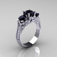 Classic 14K White Gold Three Stone Black and White Diamond Solitaire Ring R200-14KWGDBD