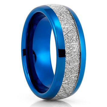 Blue Tungsten Ring - Meteorite Wedding Band - Meteorite Ring - Blue Tungsten