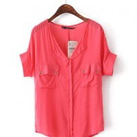 Red Batwing Sleeves Blouse with Twin Flap Pockets