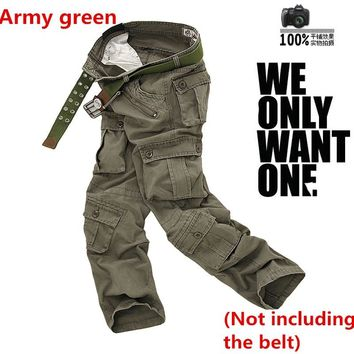 Spring Autumn Men Hiking  Multi Pocket Baggy Loose Overalls Straight Long Trousers Army Tactical Military Camping Hiking Pants