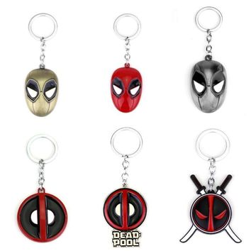 Deadpool Dead pool Taco Fashion Jewelry  Enamel Mask Keychain Personality Red and Black Classic Pendant Vintage Round Dome Key Chain AT_70_6
