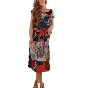 Abstract Print Letters Dress # DR-0006
