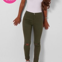 Rho Khaki High Waisted Ripped Jeggings | Pink Boutique