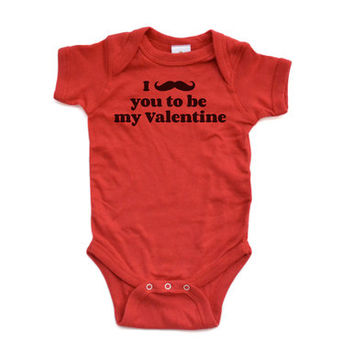 I Mustache You to be My Valentine - Funny Cute Valentine's Day Pun - Short Sleeve Soft Cotton Baby Bodysuit