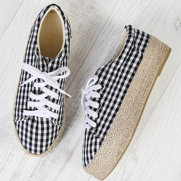Gingham Lace Up Espadrille Flatform Sneakers BLACK WHITE