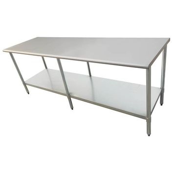 "Stainless Steel Work Prep Table 24"" x 96"" with Undershelf"